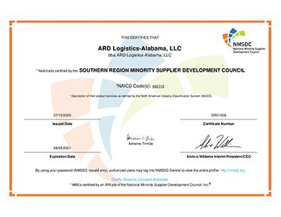 ARD NMSDC Certification